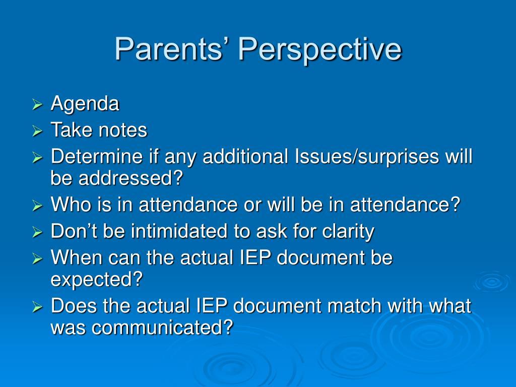 Parents' Perspective