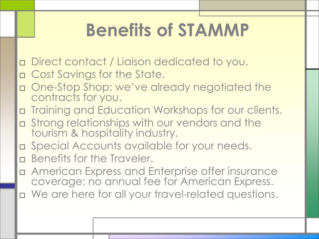 Benefits of STAMMP