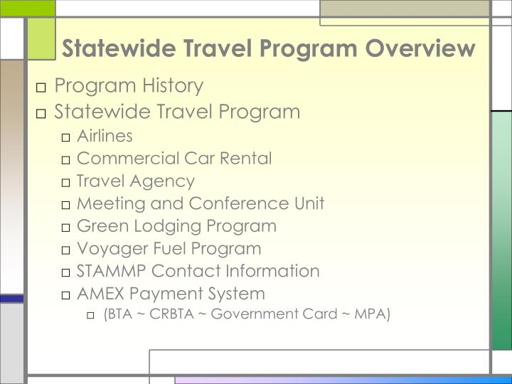 Statewide travel program overview l.jpg