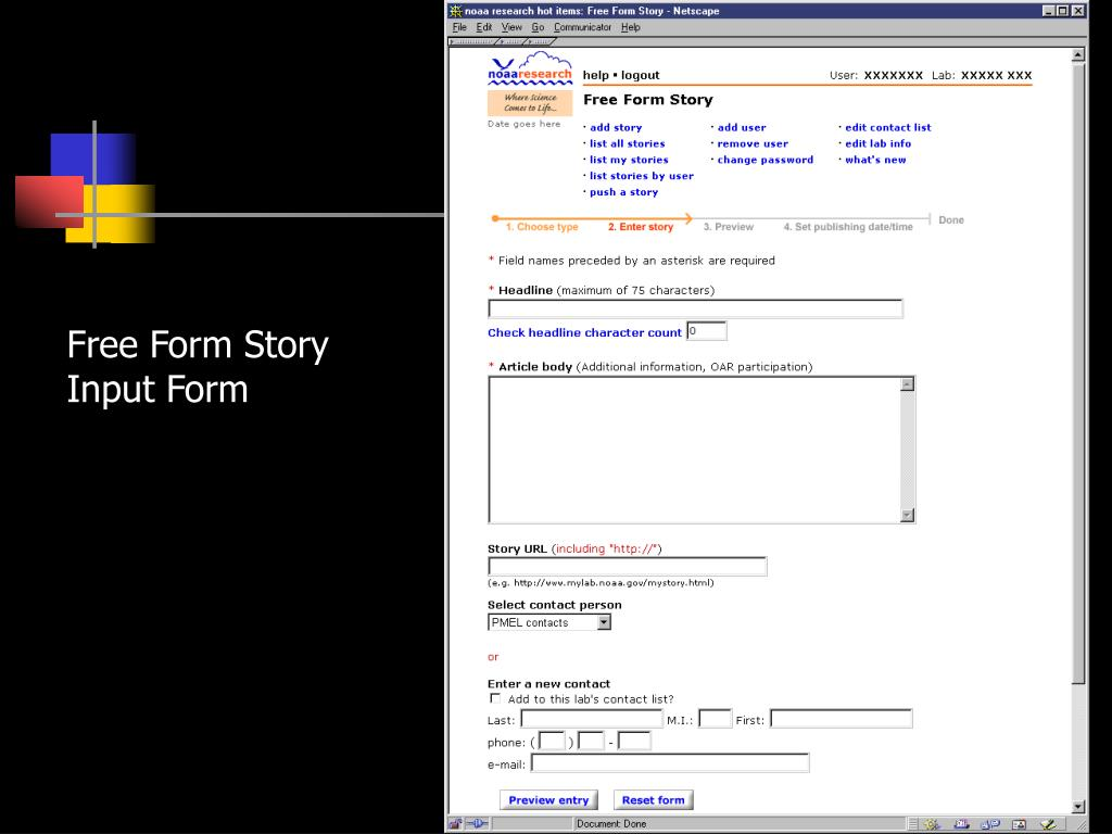 Free Form Story Input Form