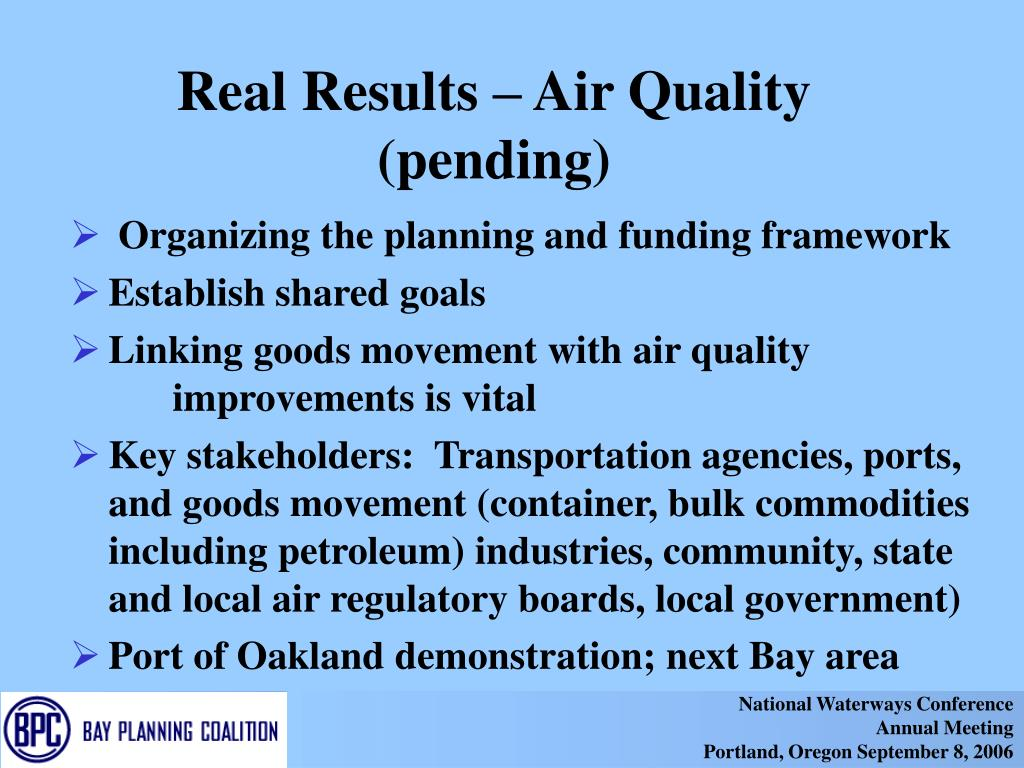 Real Results – Air Quality (pending)