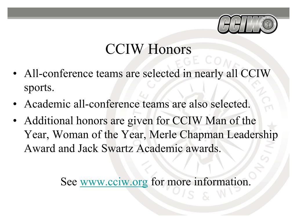 CCIW Honors