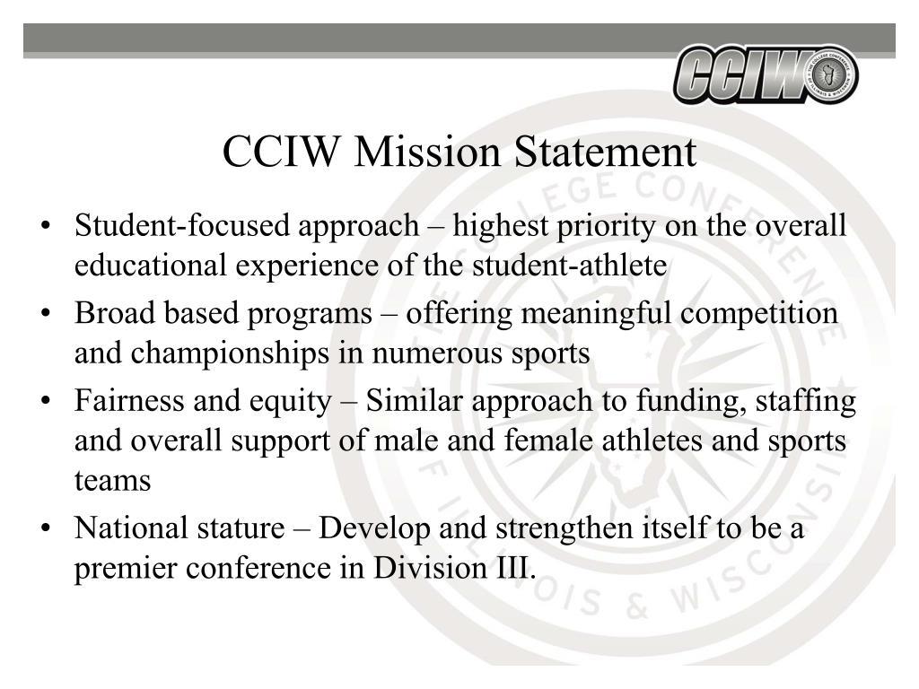 CCIW Mission Statement