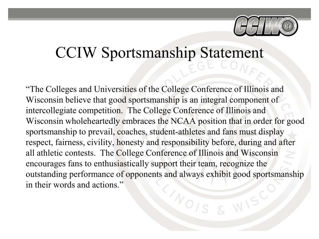 CCIW Sportsmanship Statement