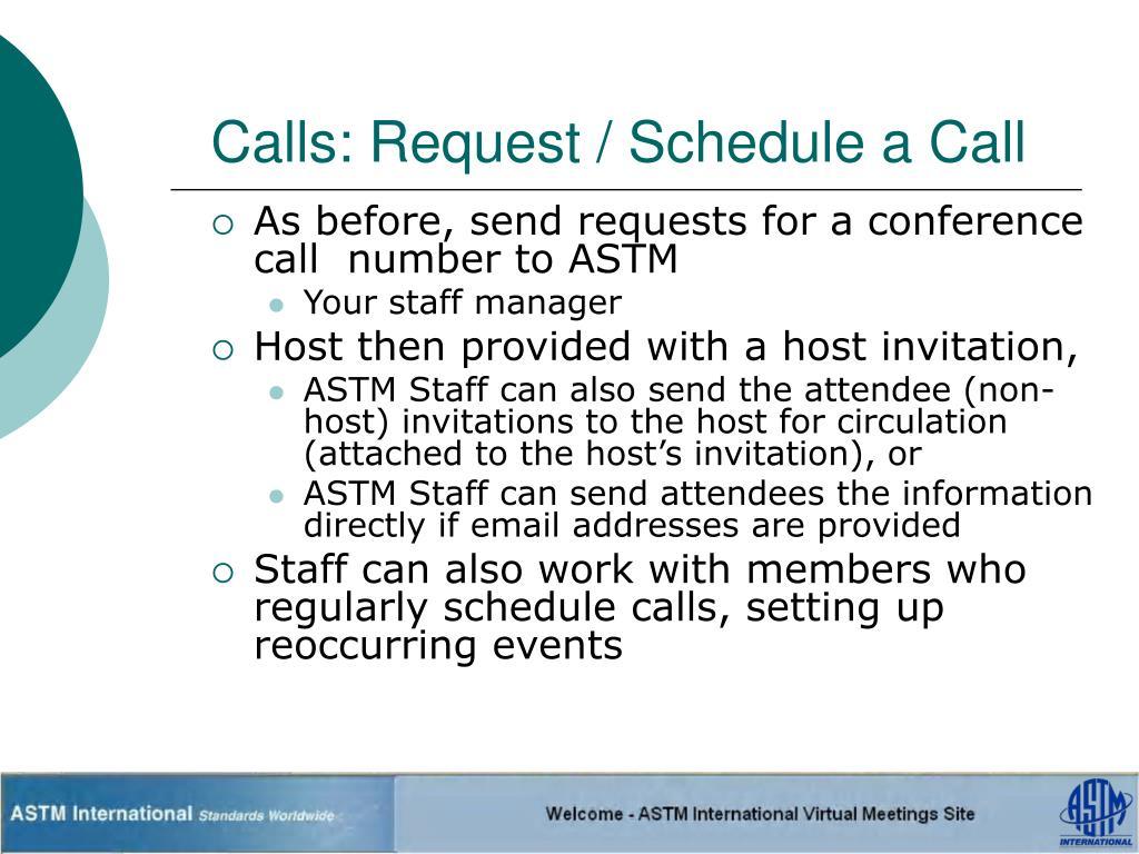 Calls: Request / Schedule a Call