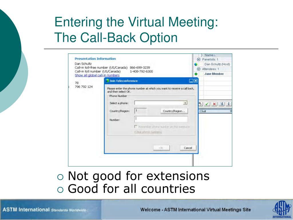 Entering the Virtual Meeting: