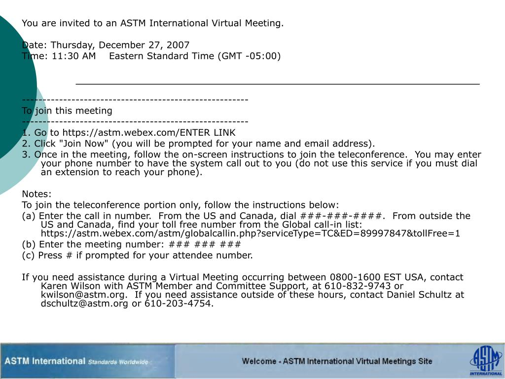 You are invited to an ASTM International Virtual Meeting.