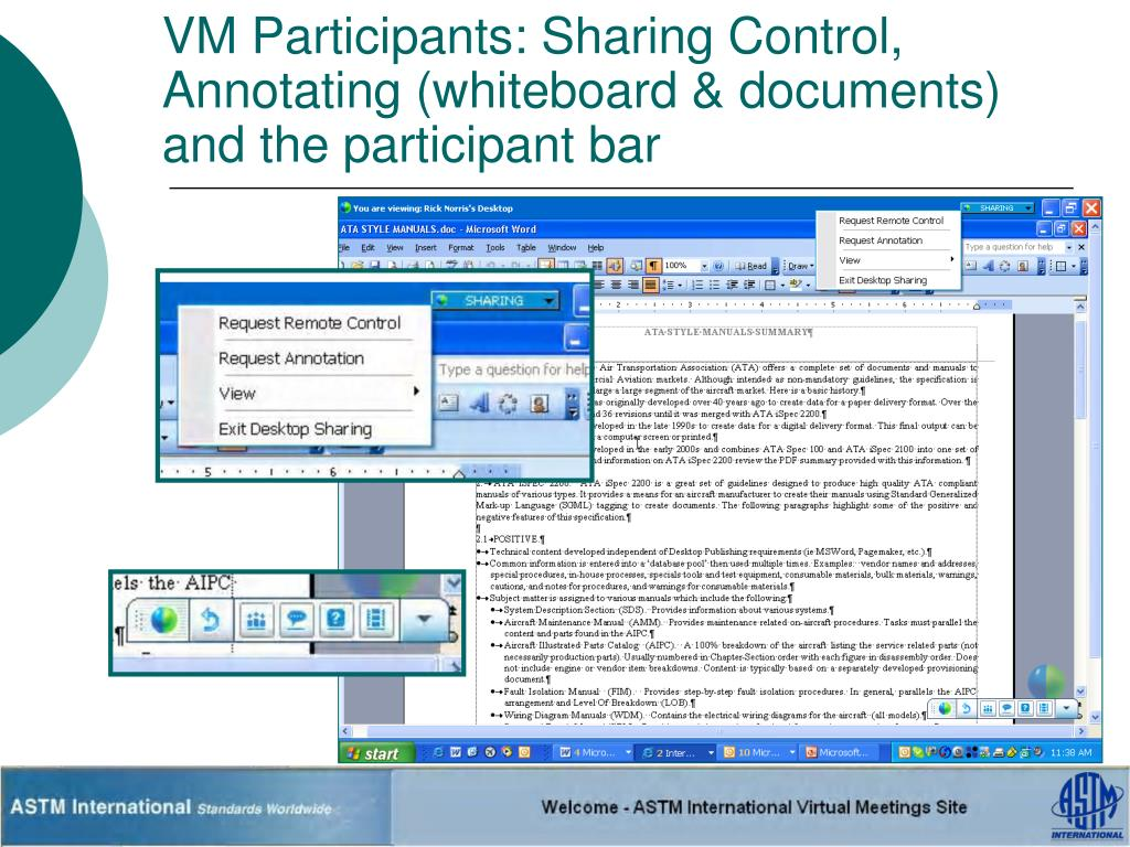 VM Participants: Sharing Control, Annotating (whiteboard & documents) and the participant bar