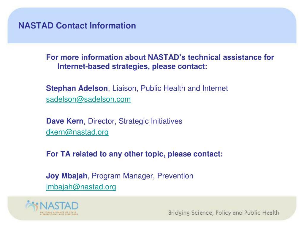 NASTAD Contact Information
