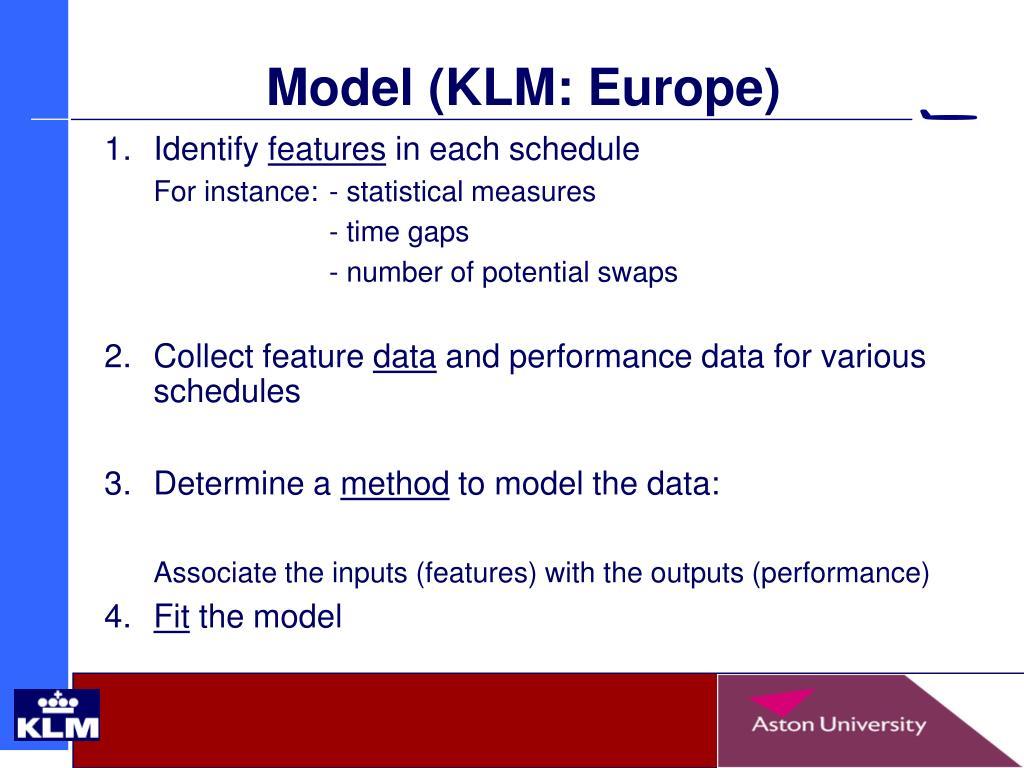 Model (KLM: Europe)