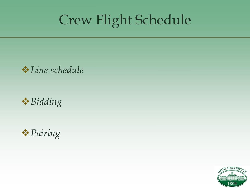 Crew Flight Schedule