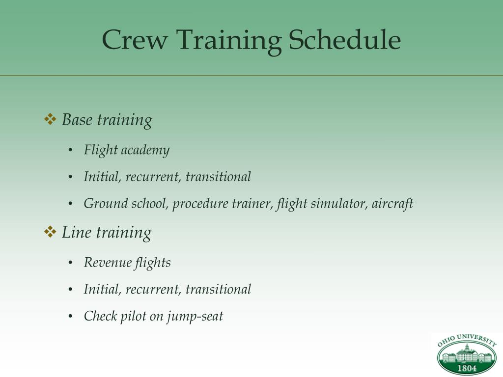 Crew Training Schedule