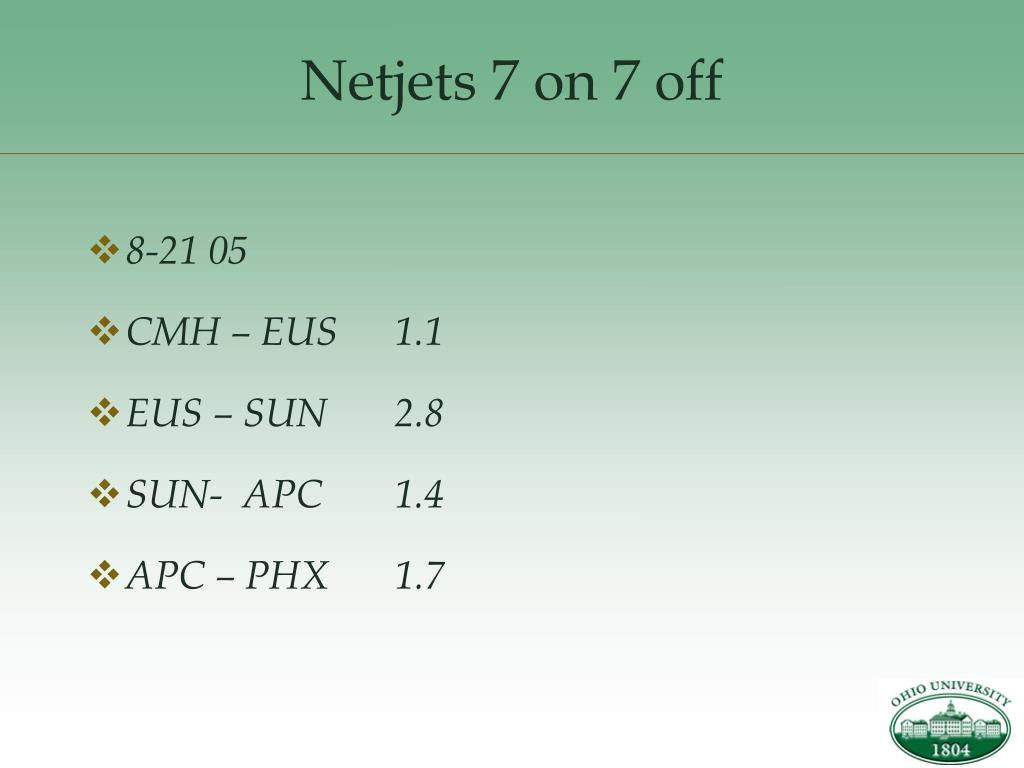Netjets 7 on 7 off