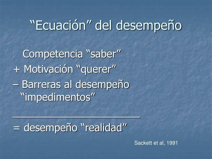 """""""Ecuación"""" del desempeño"""