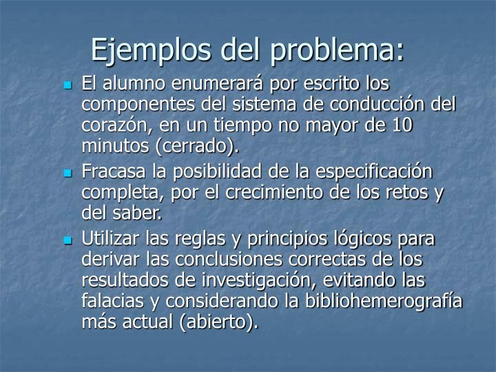Ejemplos del problema: