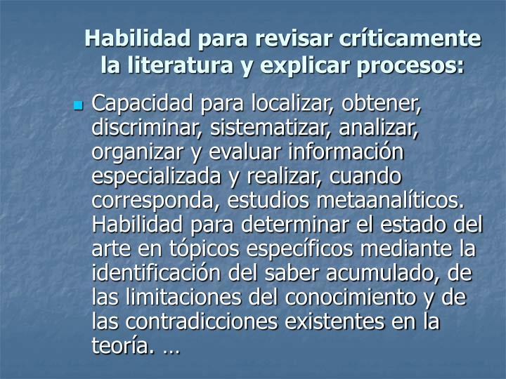Habilidad para revisar críticamente la literatura