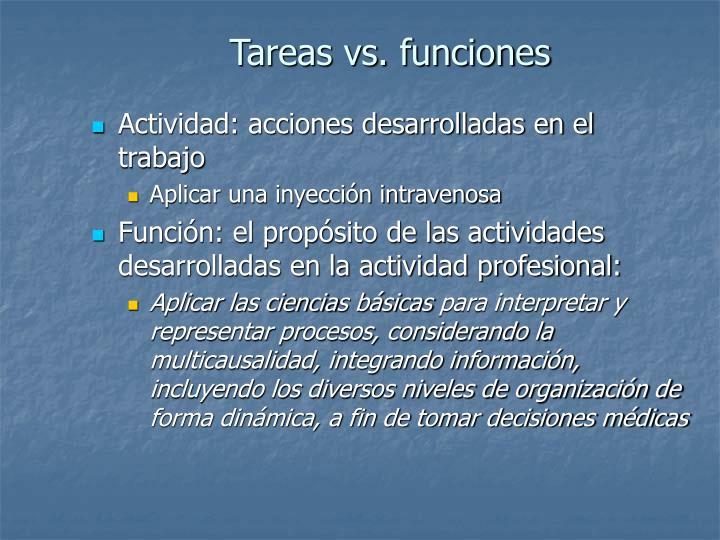 Tareas vs. funciones