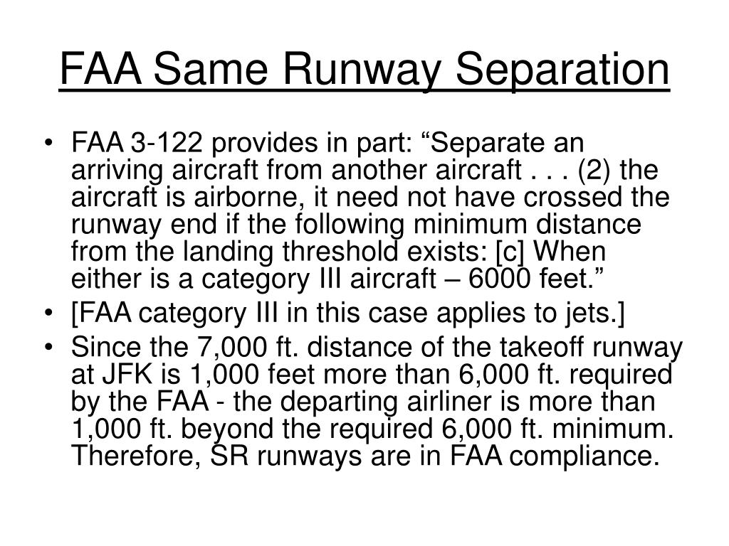 FAA Same Runway Separation