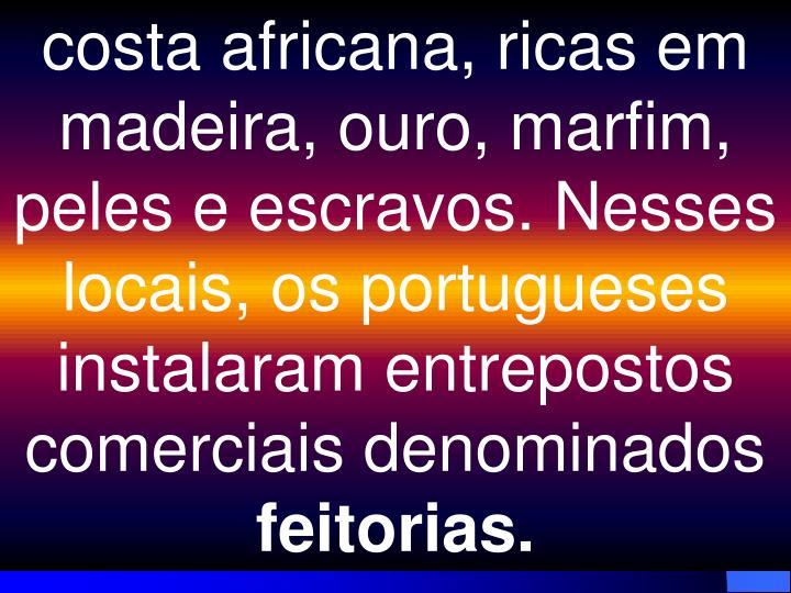costa africana, ricas em madeira, ouro, marfim, peles e escravos. Nesses locais, os portugueses instalaram entrepostos comerciais denominados