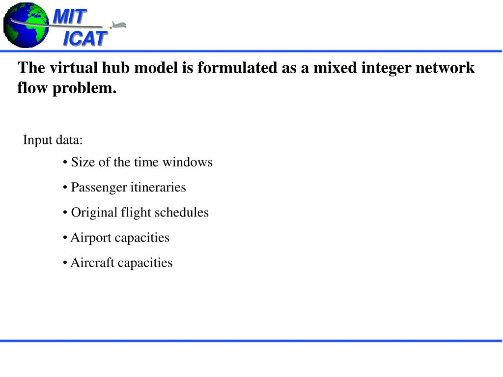 The virtual hub model is formulated as a mixed integer network flow problem.