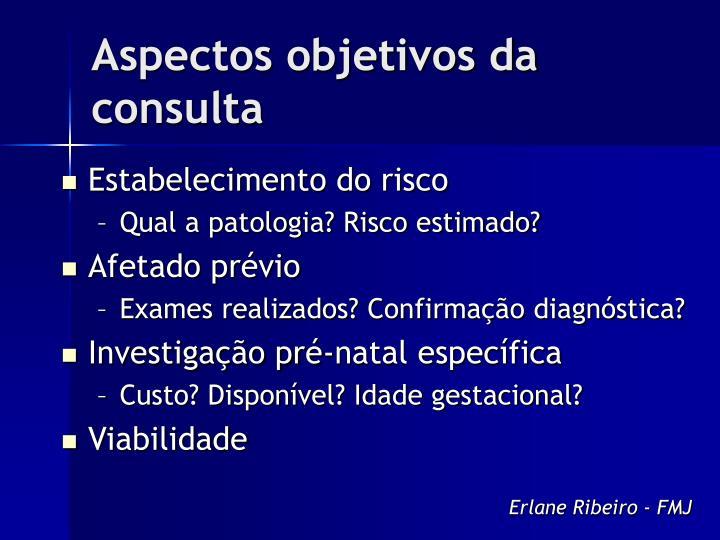 Aspectos objetivos da consulta