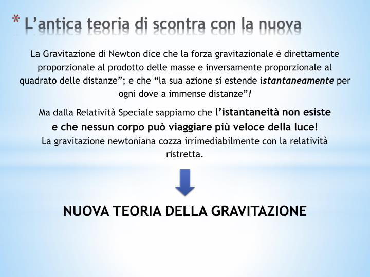 La Gravitazione di Newton dice che la forza gravitazionale è direttamente proporzionale al prodotto delle masse e inversamente proporzionale al quadrato delle distanze