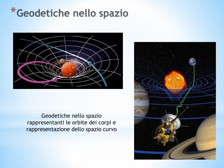 Geodetiche nello spazio rappresentanti le orbite dei corpi e