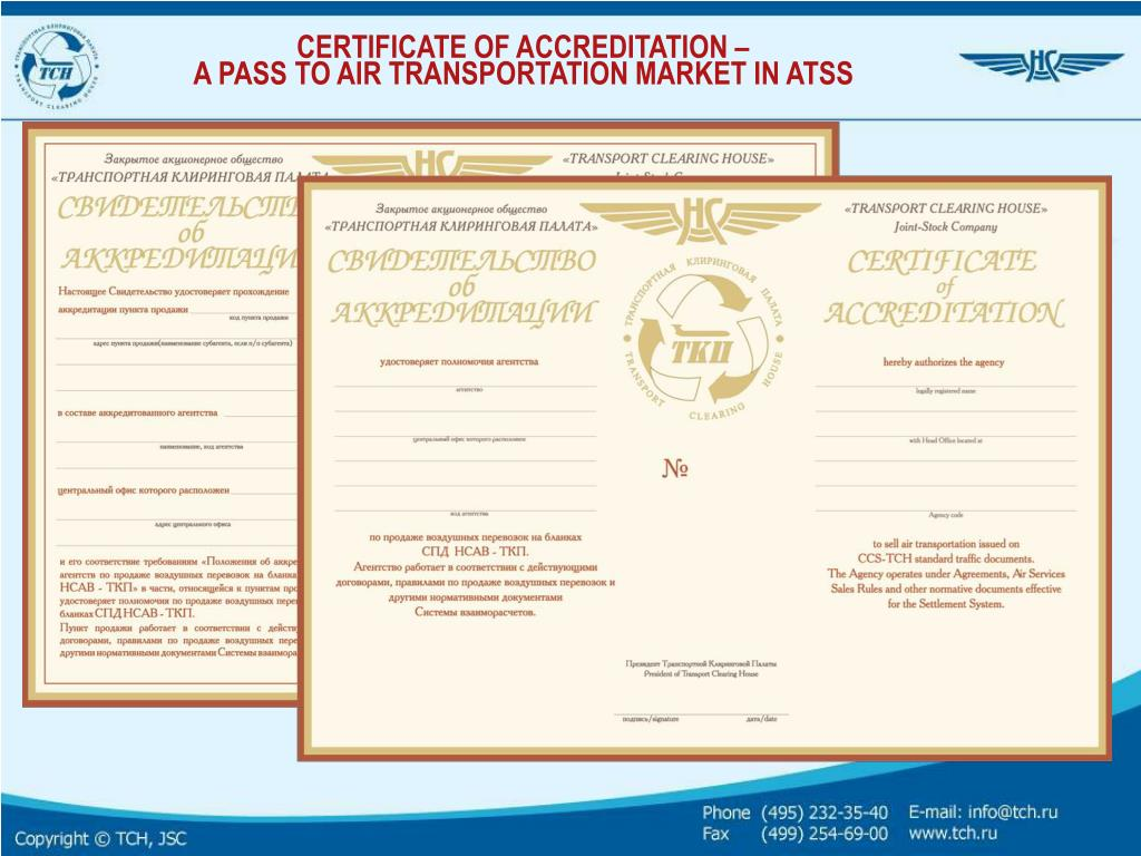 CERTIFICATE OF ACCREDITATION –