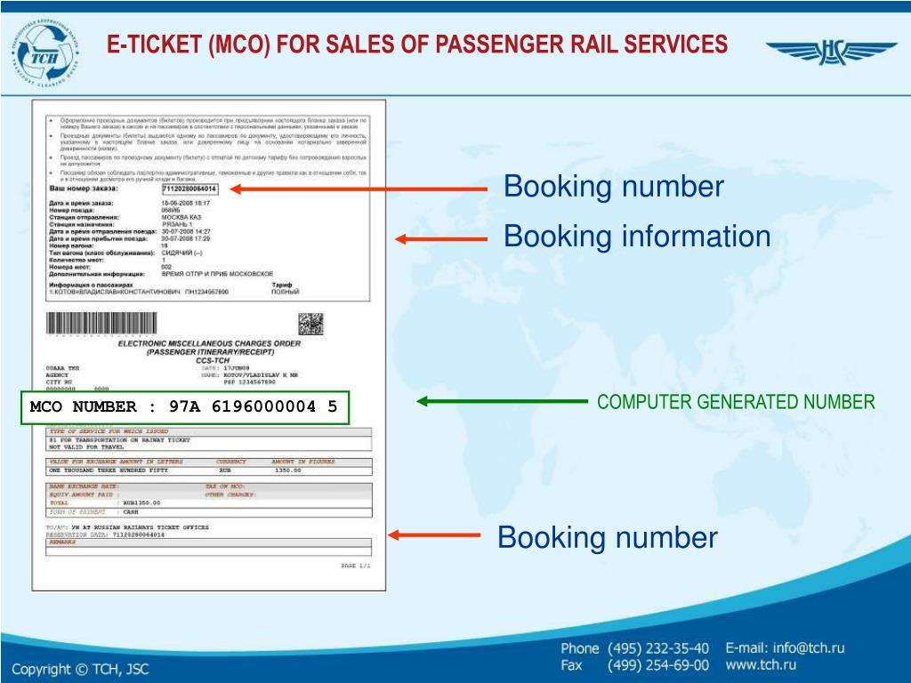 Booking number