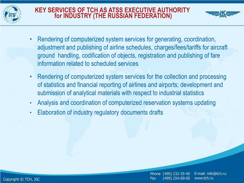 KEY SERVICES OF TCH AS ATSS EXECUTIVE AUTHORITY