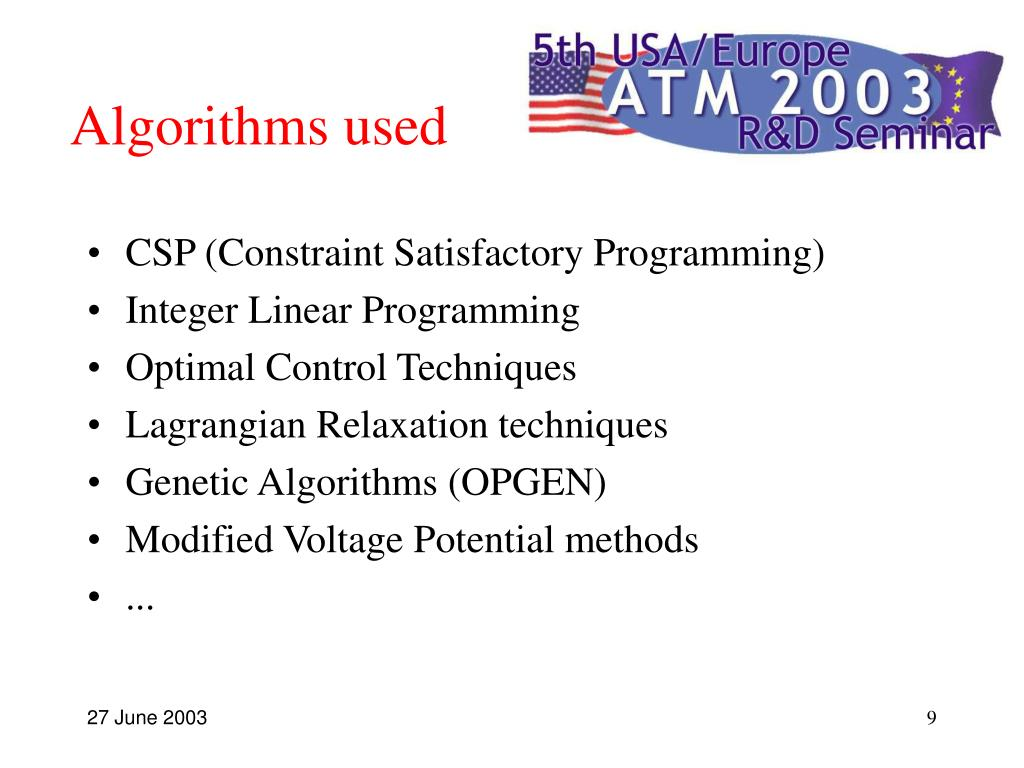 Algorithms used