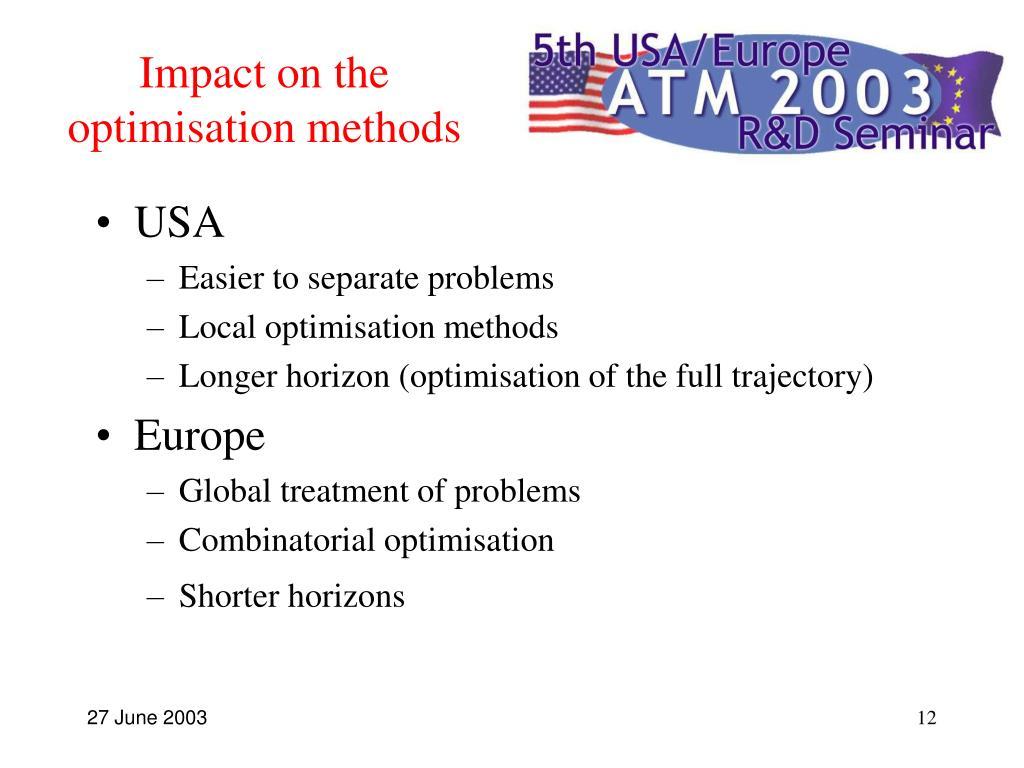 Impact on the optimisation methods