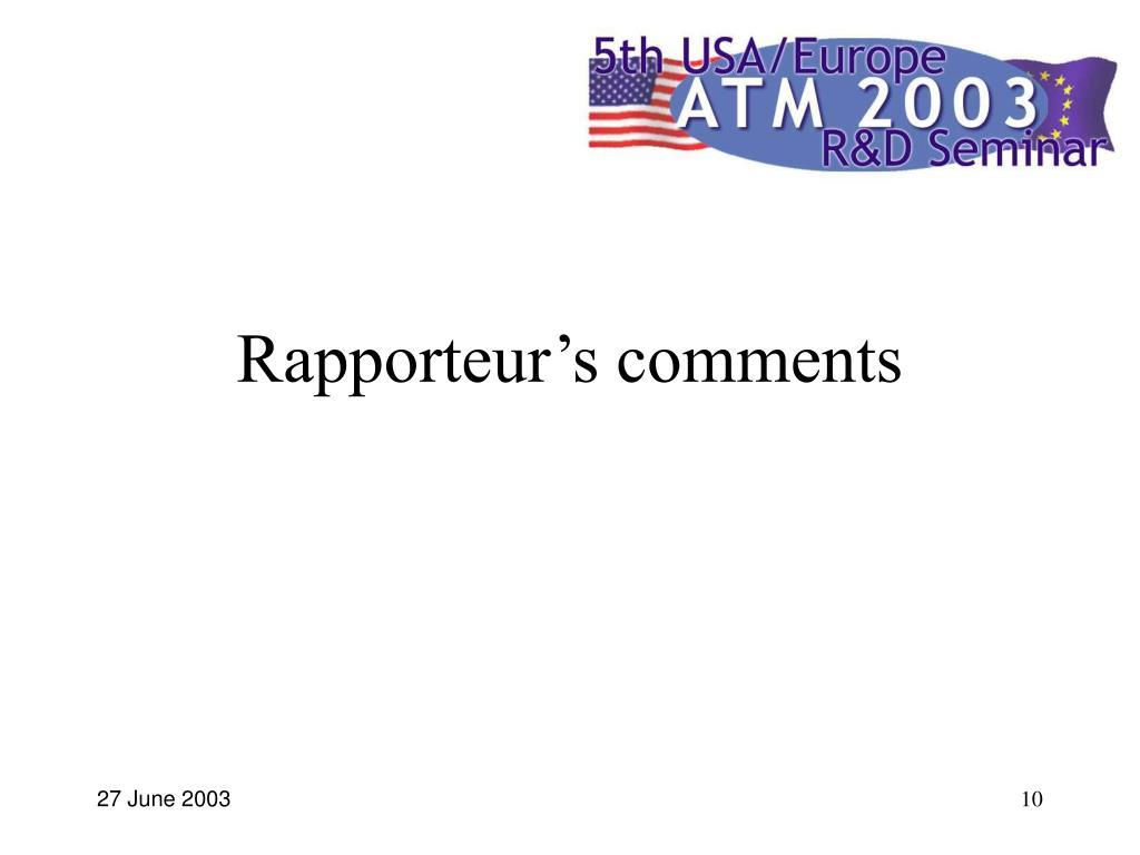 Rapporteur's comments