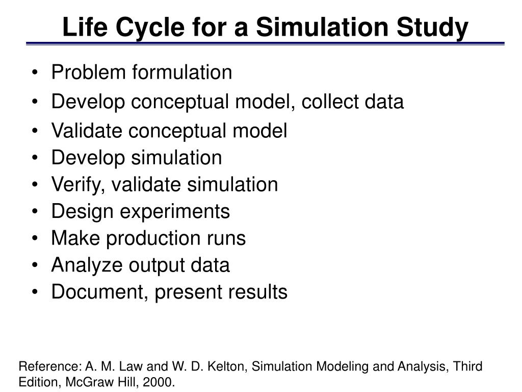 Life Cycle for a Simulation Study