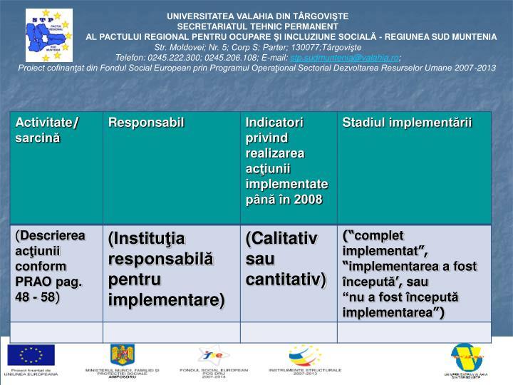 Tabel de monitorizare a gradului implementării măsurilor şi acţiunilor incluse în PRAO 2006-2008