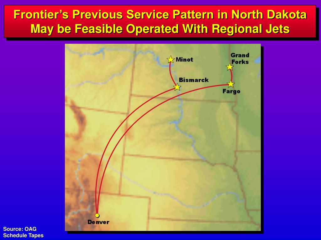 Frontier's Previous Service Pattern in North Dakota