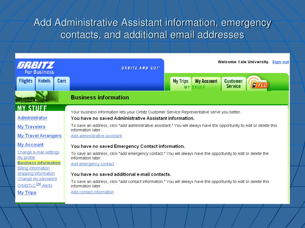 Add Administrative Assistant information, emergency contacts, and additional email addresses