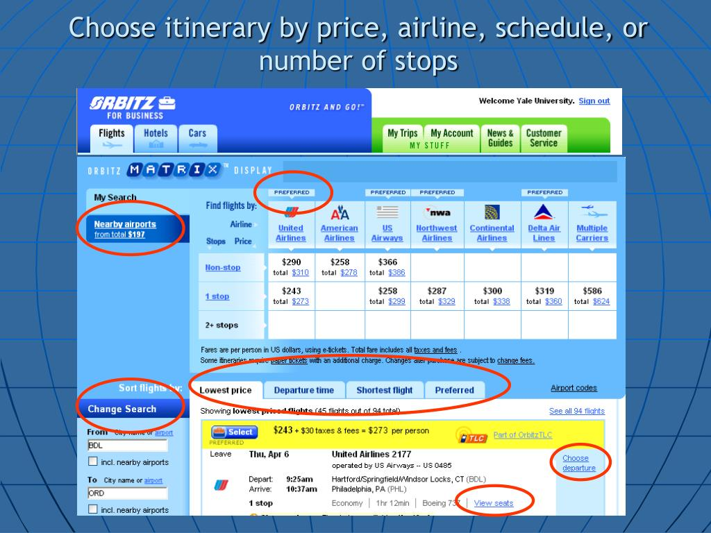 Choose itinerary by price, airline, schedule, or number of stops