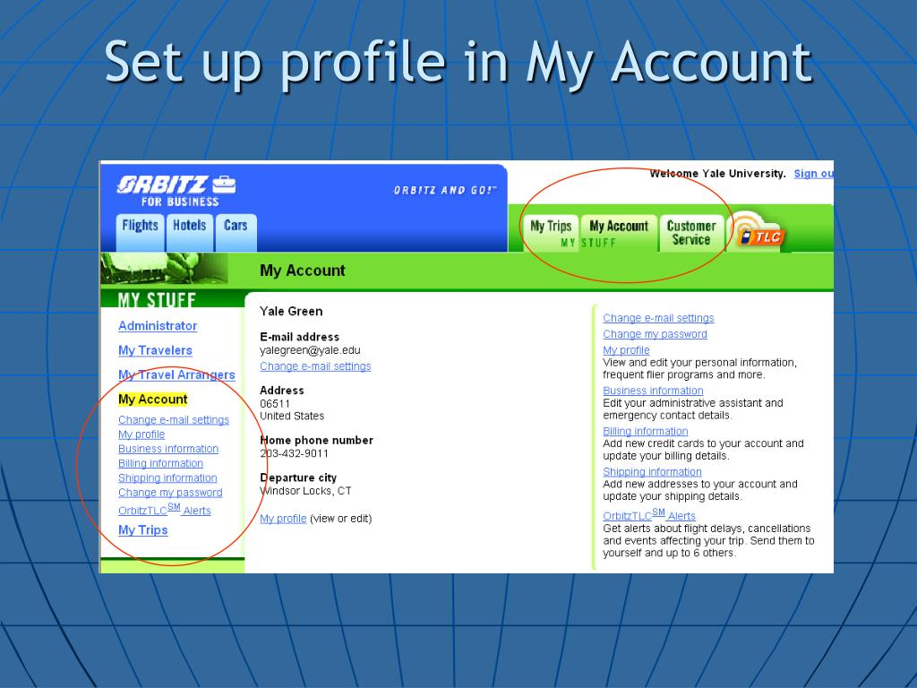 Set up profile in My Account