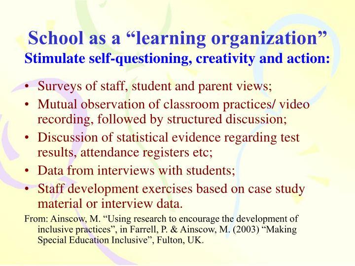 """School as a """"learning organization"""""""