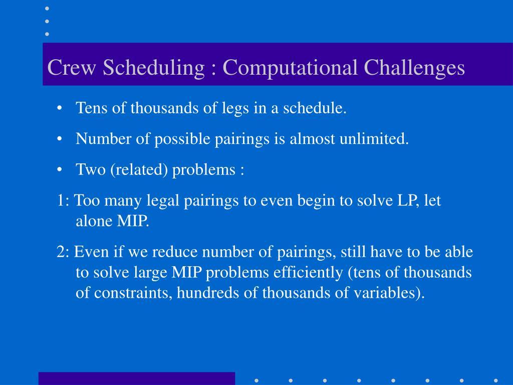 Crew Scheduling : Computational Challenges