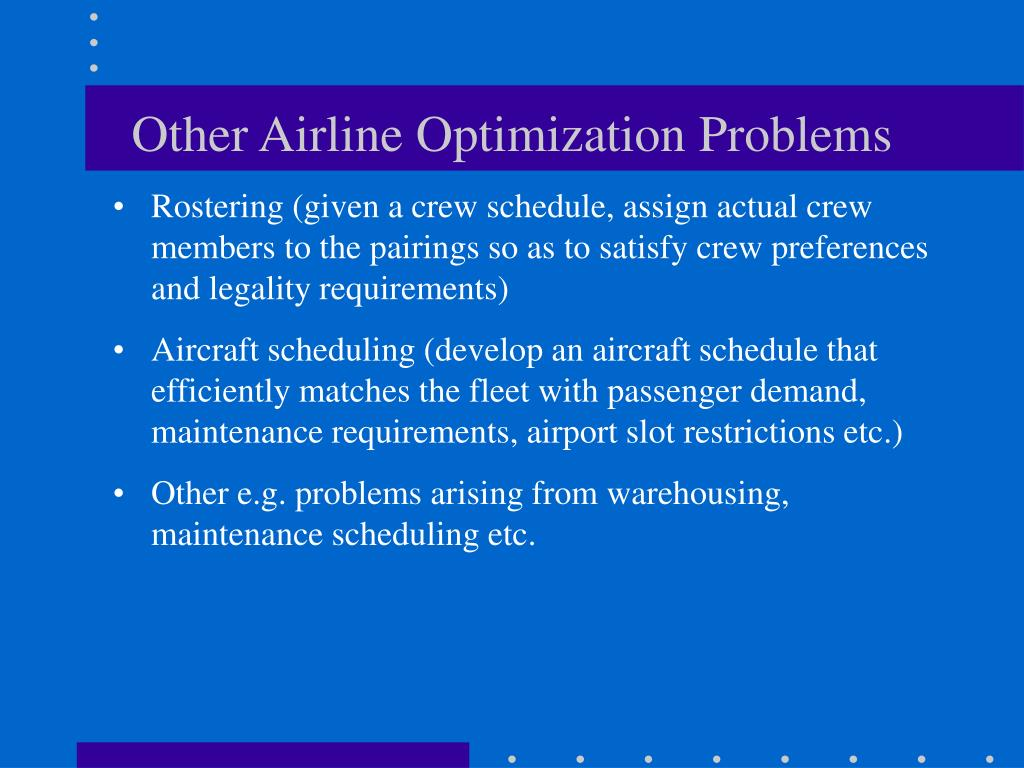Other Airline Optimization Problems
