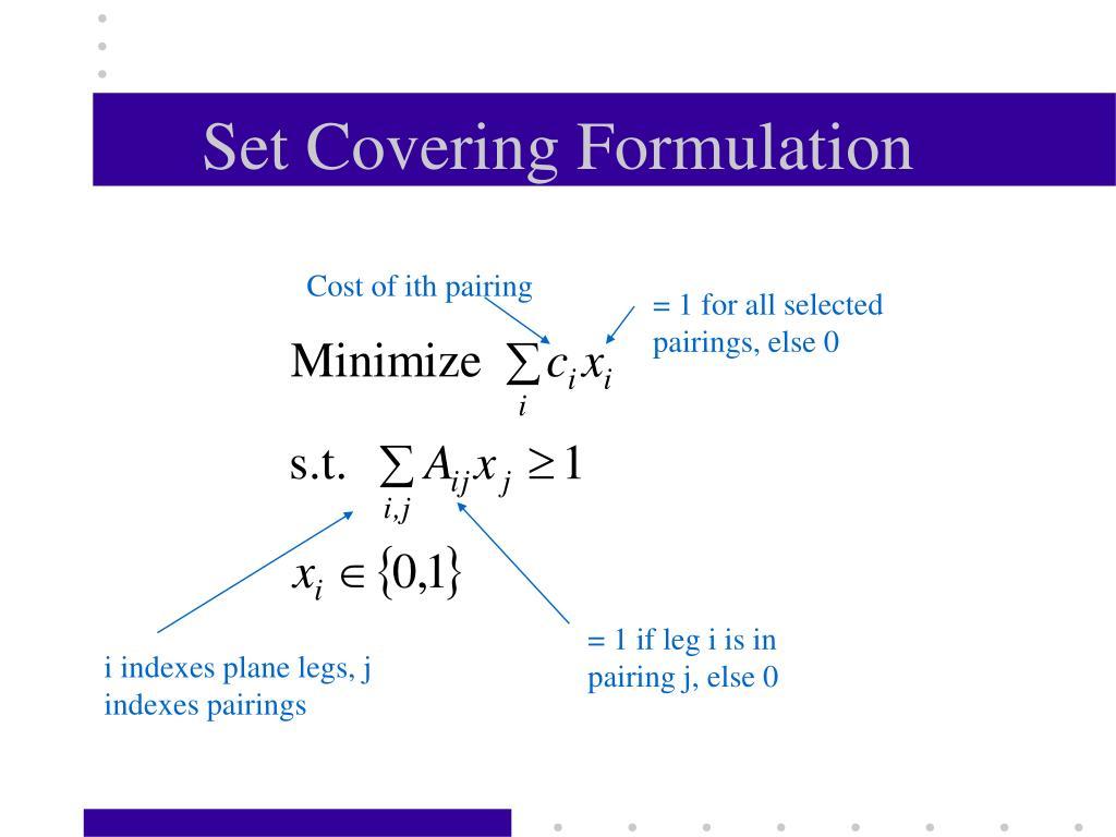 Set Covering Formulation