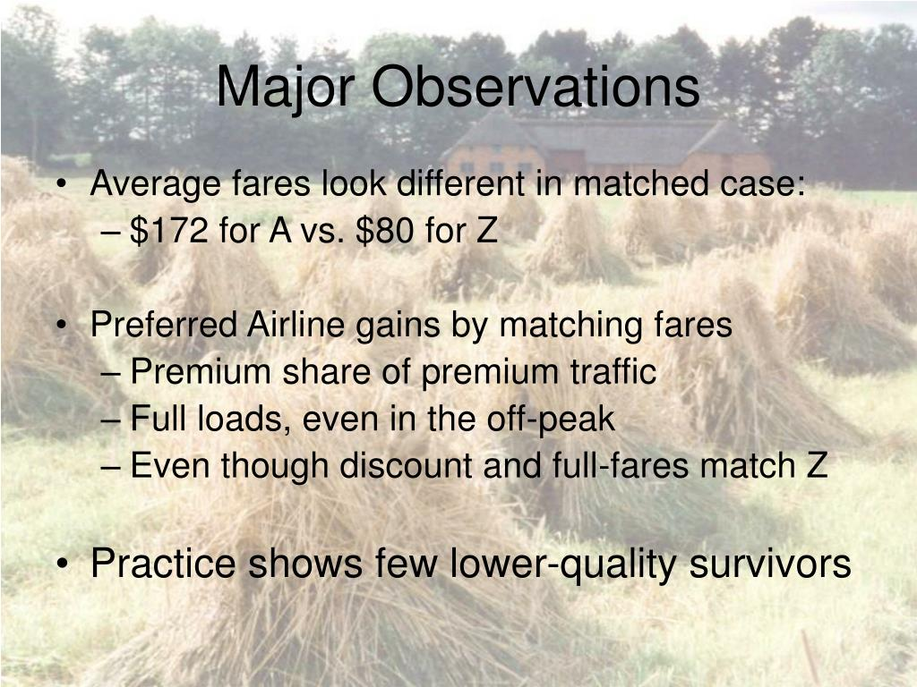 Major Observations