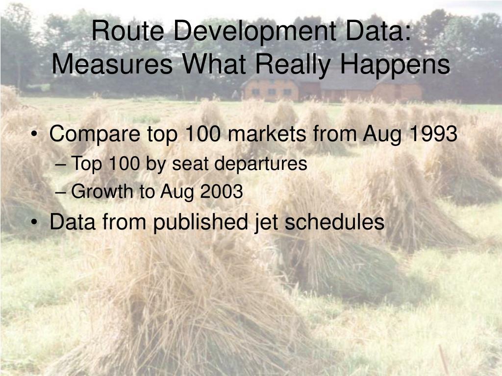 Route Development Data: