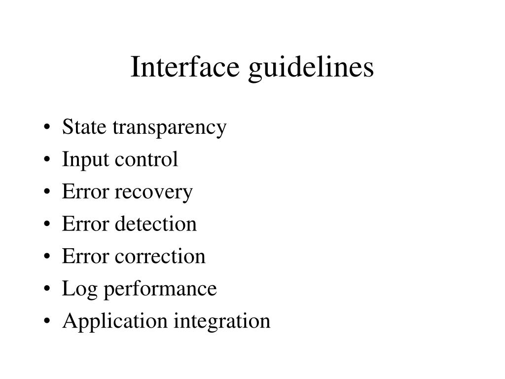 Interface guidelines