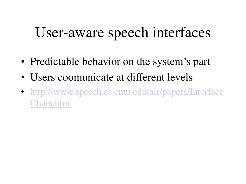 User-aware speech interfaces