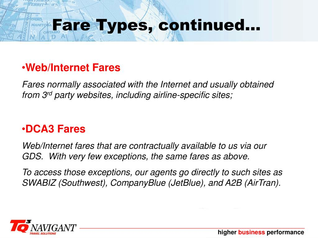 Fare Types, continued...