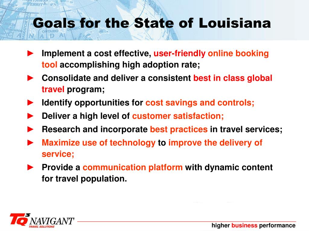 Goals for the State of Louisiana
