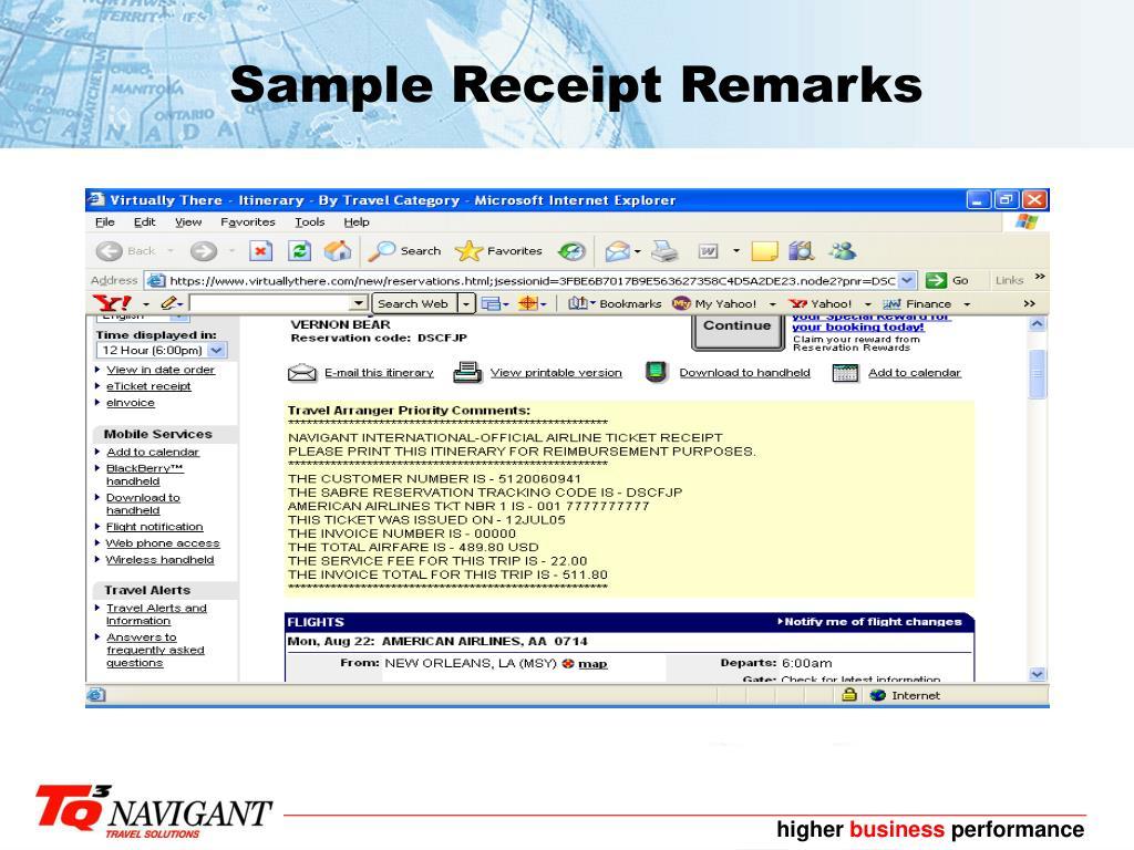 Sample Receipt Remarks